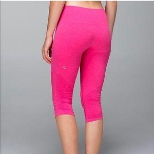 Lululemon Ebb & Flow hot pink cropped leggings